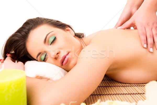 Mulher estância termal jovem bela mulher relaxante bem-estar Foto stock © hsfelix