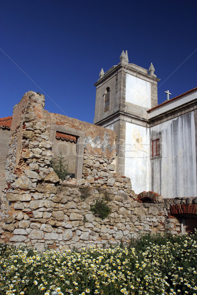 Old church over ruined castle Stock photo © hsfelix