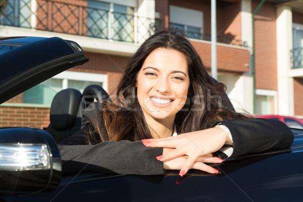 деловой женщины Спортивный автомобиль молодые успешный роскошный женщину Сток-фото © hsfelix