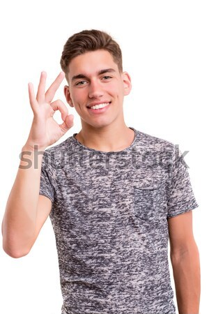 Feliz estudante jovem positividade isolado Foto stock © hsfelix