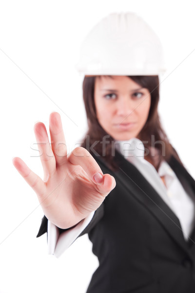 Business woman signaling ok Stock photo © hsfelix