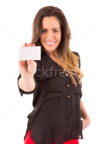 счастливым женщину изолированный Сток-фото © hsfelix