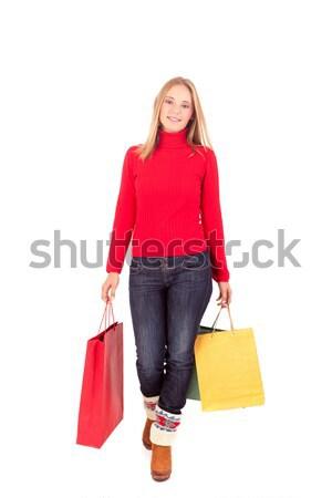 Alışveriş mutlu güzel bir kadın kadın kış Stok fotoğraf © hsfelix