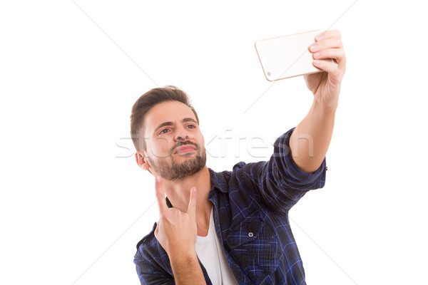 Me gelukkig jonge man zelfportret Stockfoto © hsfelix