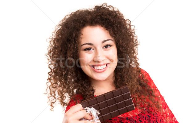 チョコレート 美しい 若い女性 食べ チョコレートバー 女性 ストックフォト © hsfelix