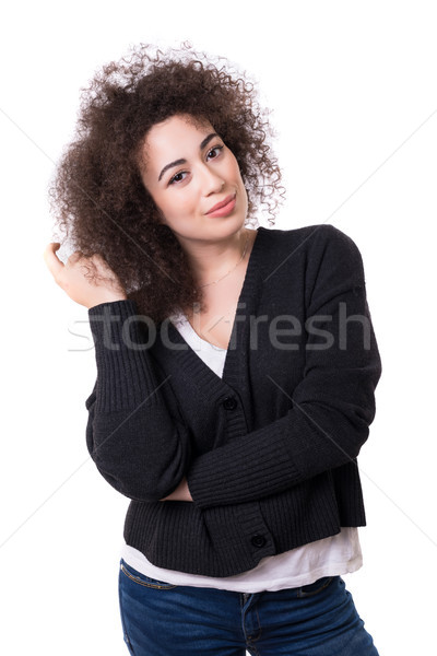 Genç güzel Asya kadın poz yalıtılmış Stok fotoğraf © hsfelix