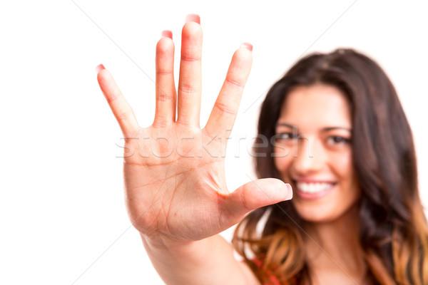 Pare belo mulher jovem sinal de parada direito Foto stock © hsfelix
