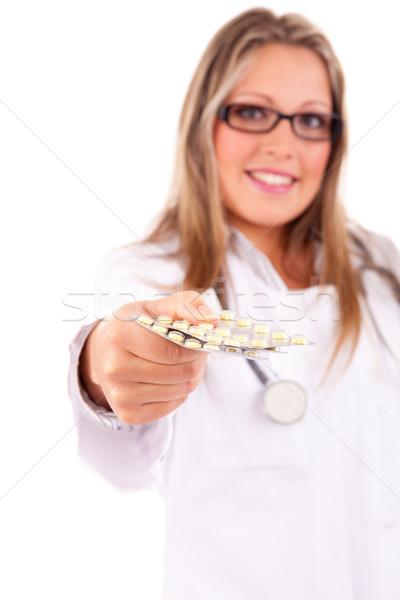 Медик таблетки изолированный белый женщину Сток-фото © hsfelix