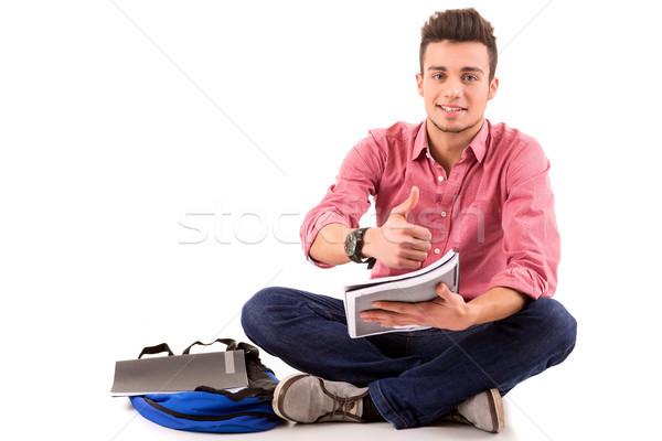 счастливым студент молодые позируют изолированный белый Сток-фото © hsfelix