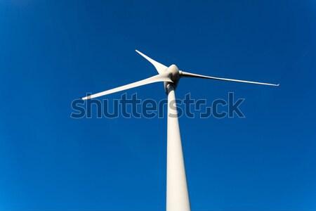 Viento energía hermosa cielo azul puesta de sol tecnología Foto stock © hsfelix