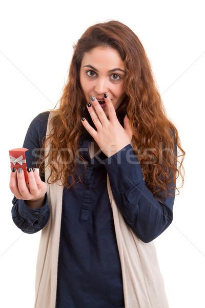 étonné jeune femme isolé blanche femme yeux Photo stock © hsfelix