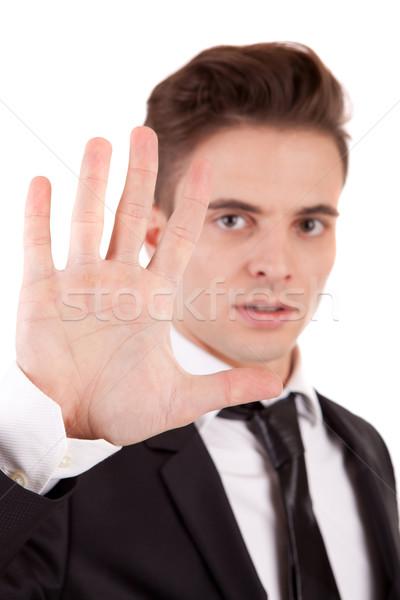 ストックフォト: ビジネスマン · 一時停止の標識 · 選択フォーカス · 手 · にログイン