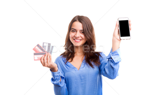 Сток-фото: электронной · коммерции · женщину · торговых · счастливым · кредитные · карты
