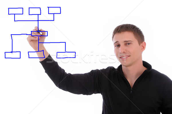 businessman drawing chart in whiteboard Stock photo © hsfelix