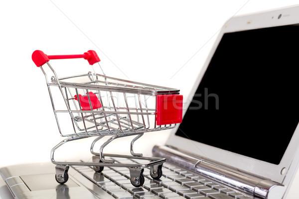 Koszyk laptop działalności technologii notebooka Zdjęcia stock © hsfelix