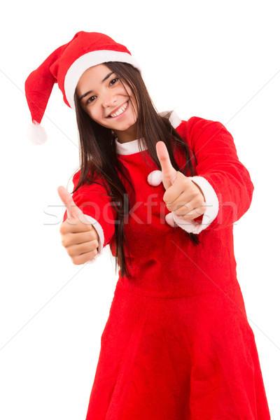 Noel baba kadın güzel Asya şapka teklif Stok fotoğraf © hsfelix