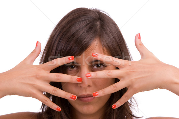 woman showing framing hand gesture Stock photo © hsfelix