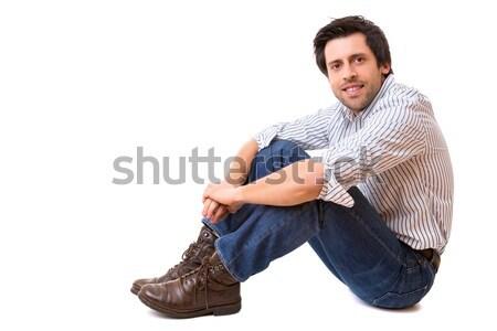 Férfi pózol stúdió kép lezser izolált Stock fotó © hsfelix