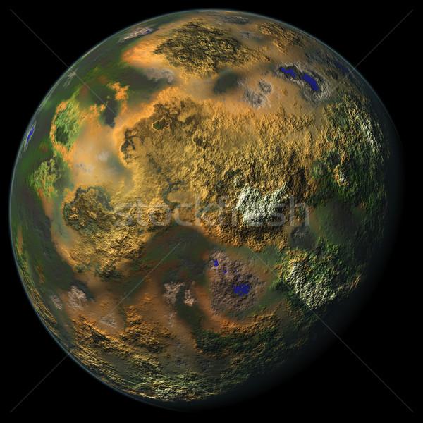 ストックフォト: 惑星 · コンピュータ · 生成された · 孤立した · 黒 · 太陽