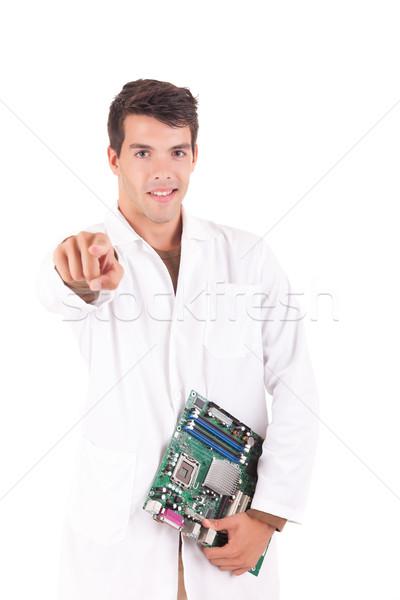 Stok fotoğraf: Bilgisayar · mühendis · mutlu · başarılı · genç · iş