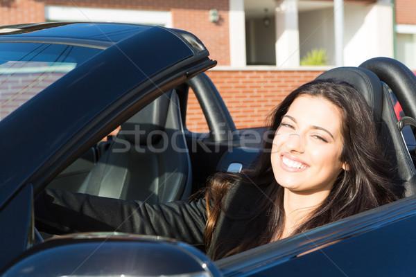 üzletasszony sportautó fiatal sikeres fényűző lány Stock fotó © hsfelix