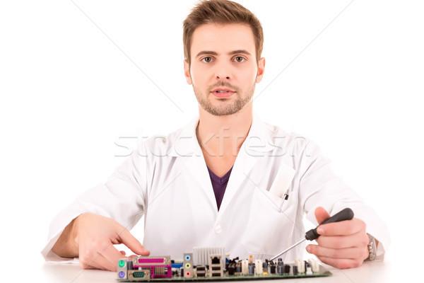 компьютер инженер изолированный белый стороны работу Сток-фото © hsfelix