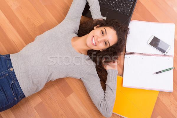 幸せ 学生 美しい 女性 笑顔 ストックフォト © hsfelix