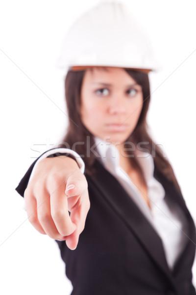 Business woman wskazując naprzód skupić palec działalności Zdjęcia stock © hsfelix