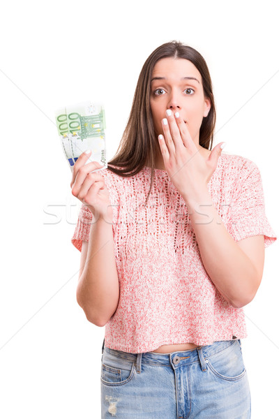 Igen extra pénz gyönyörű fiatal nő mutat Stock fotó © hsfelix
