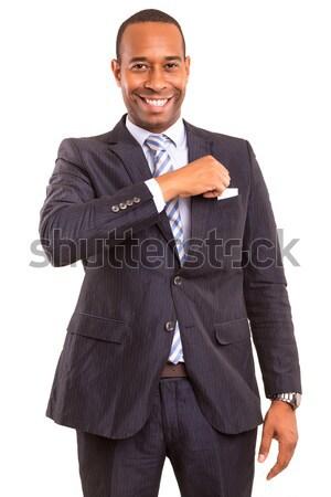 African om de afaceri oferind felicitare izolat alb Imagine de stoc © hsfelix