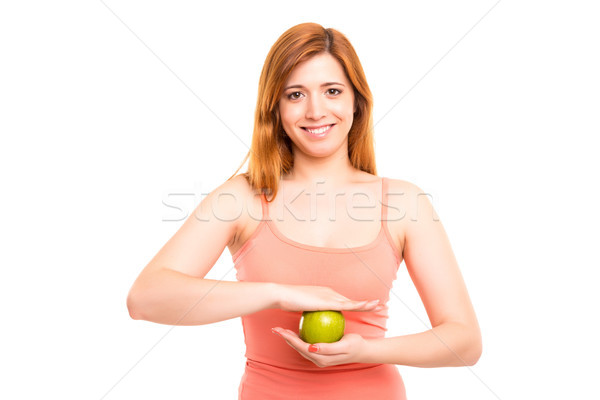 Mujer hermosa verde manzana Foto stock © hsfelix
