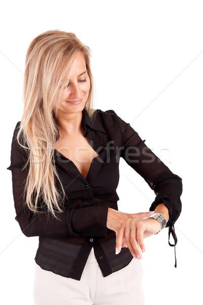 ストックフォト: ビジネス女性 · 時間 · 孤立した · 白 · オフィス · 幸せ