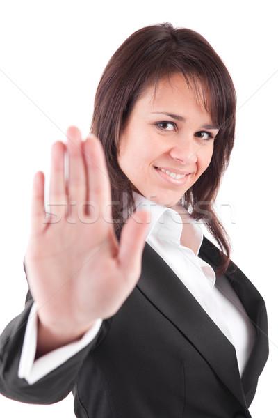 Zakenvrouw stopteken geïsoleerd witte vrouw Stockfoto © hsfelix