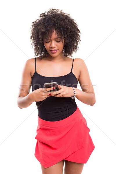 Ahogy új app stúdiófelvétel gyönyörű afrikai Stock fotó © hsfelix