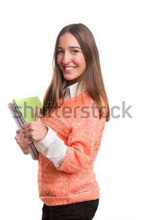 Fericit student tineri prezinta alb femeie Imagine de stoc © hsfelix