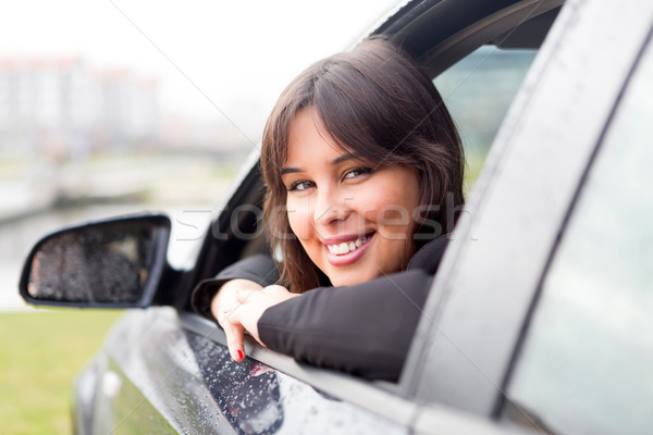 új autó üzletasszony vezetés új sportautó autó Stock fotó © hsfelix