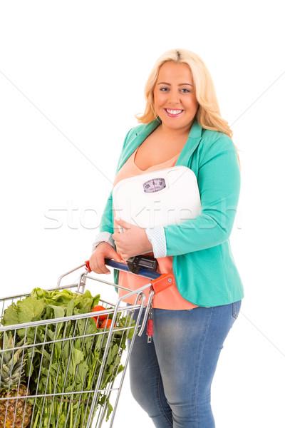 Nagy nő áruház keresés egészséges étel fitnessz Stock fotó © hsfelix