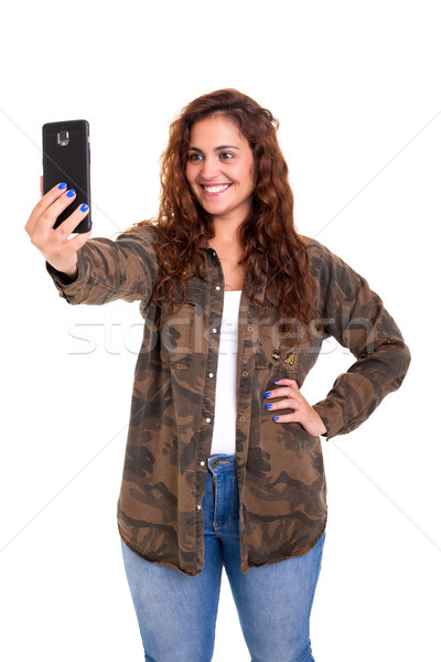 Stockfoto: Me · gelukkig · jonge · vrouw · zelfportret