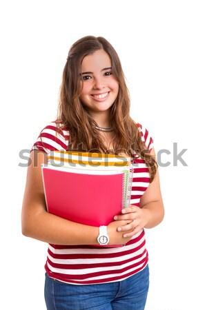 Снова в школу молодые студент женщину позируют белый Сток-фото © hsfelix
