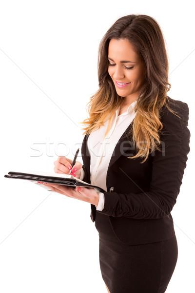 Сток-фото: деловая · женщина · счастливым · красивой · деловой · женщины · решение
