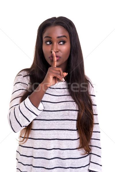 Stilte mooie afrikaanse jonge vrouw vragen geïsoleerd Stockfoto © hsfelix