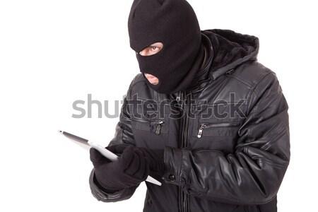 Hırsız dizüstü bilgisayar yalıtılmış beyaz Internet Stok fotoğraf © hsfelix