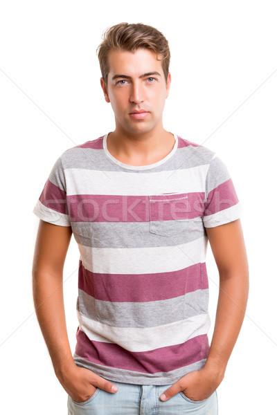 красивый мужчина студию фотография молодые позируют изолированный Сток-фото © hsfelix
