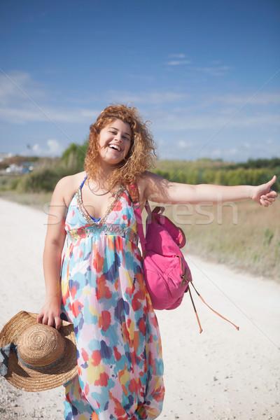 Jonge gelukkig vrouw hemel auto Stockfoto © hsfelix