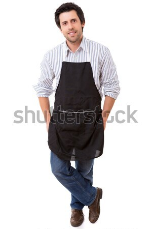 Retrato guapo joven delantal blanco alimentos Foto stock © hsfelix