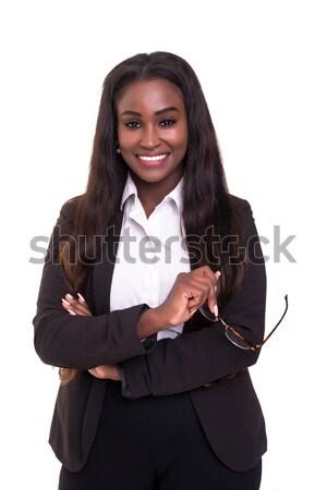 африканских деловой женщины красивой молодые позируют изолированный Сток-фото © hsfelix