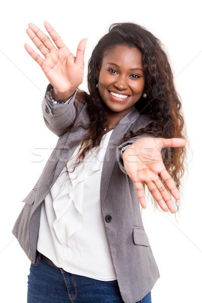 Neden güzel genç kadın yalıtılmış beyaz gülümseme Stok fotoğraf © hsfelix
