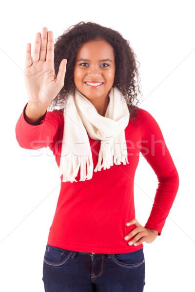 знак остановки счастливым африканских женщину изолированный Сток-фото © hsfelix