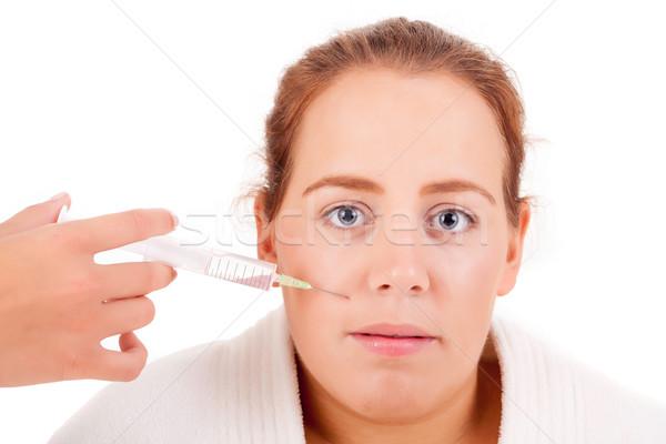 Injeção de botox cosmético cara olhos isolado branco Foto stock © hsfelix