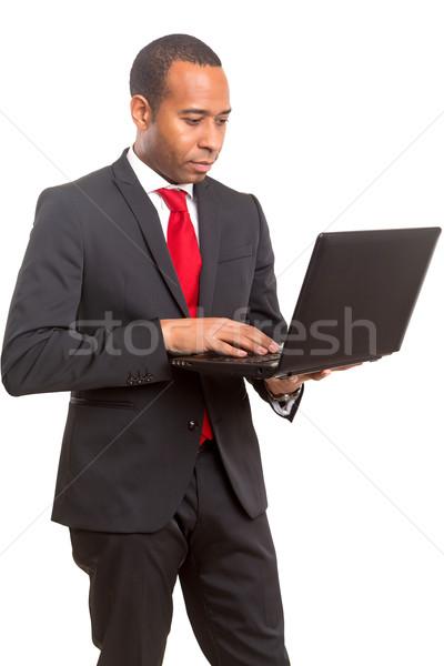 ストックフォト: アフリカ · ビジネスマン · 小さな · 作業 · ノートパソコン · ビジネス